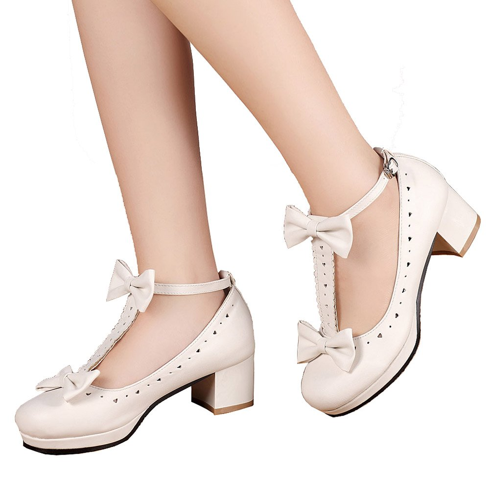 getmorebeauty Women's Lolita Shoes Vintage Sweet T-Straps Bows Mary Janes Shoes B01L9IYICC 5 B(M) US|White