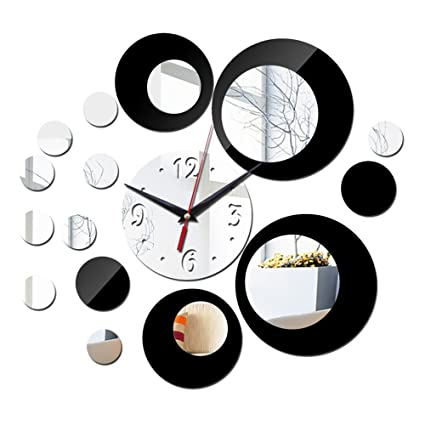 ZQ Creative Home Background Mirror Wall Sticker Clock DIY Living Room Acrylic Color Decoration Wall Clock