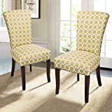 Home's Arts Villa Dining Chairs Nailhead Trims with Espresso Wood Legs (2, YELLOW GREEN) For Sale