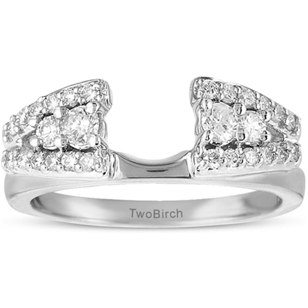 TwoBirch Fancy Style Anniversary Ring Wrap with 0.44 carats of Cubic Zirconia in Sterling Silver