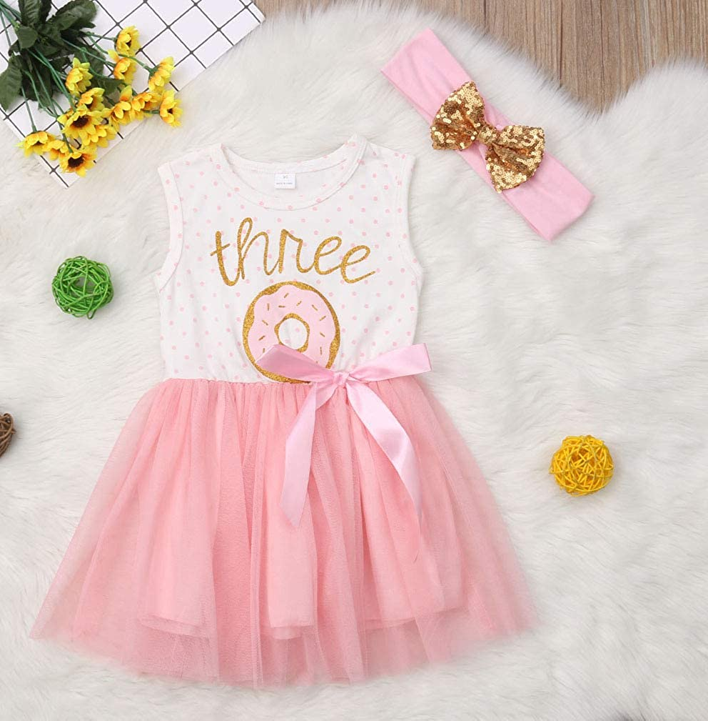 2Pcs Baby Girls Tutu Dress 1st Birthday Outfit Donut Letter Print Top Tulle Tutu Skirt with Headband Outfit Set