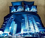 Queen's Night City Blue Sky Prints Adult Double Bed 5pcs Queen Size 100% Cotton 800 Thread Count 3d Bedding Sets Bed Duvet/comforter/quilt Cover Sets Linens Sheet Sets with 3kg White Queen Size Comforter/quilt/duvet