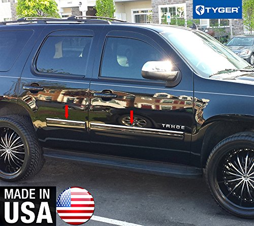 "Made In USA! Works With 2010-2014 Chevy Tahoe/GMC Yukon Rocker Panel Chrome Stainless Steel Body Side Moulding Molding Trim Cover Top 1"" Wide 4PC"
