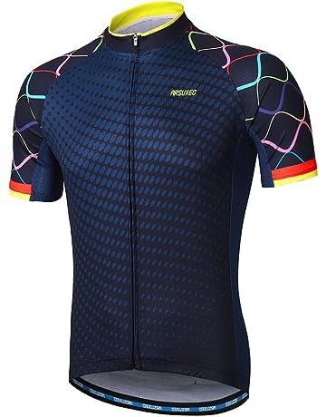 afd4e103e2580 ARSUXEO Men s Cycling Jersey Short Sleeves Mountain Bike Shirt MTB Top  Zipper Pockets Reflective