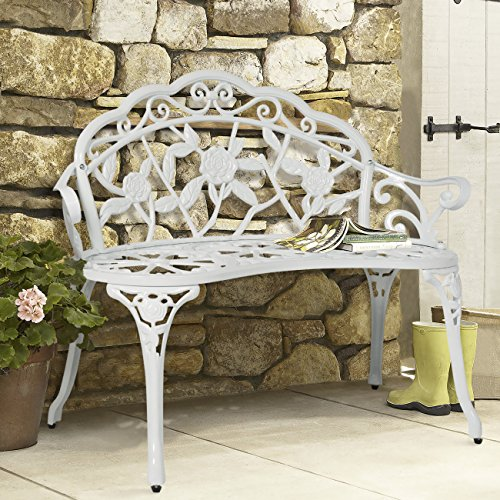 (Best Choice Products Floral Rose Accented Metal Garden Patio Bench w/Antique Finish - White)