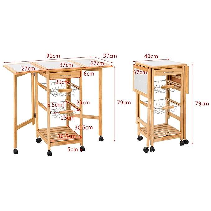 Homcom 05 0018 Kuchenwagen Holz Naturfarben 92 X 37 X 75 Cm