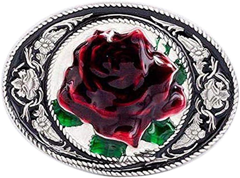 """Women/'s Rose Flower Belt Buckle Antique Silver Tone Fits 1.5/"""" Belts Western"""
