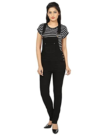 af0fb52a3 Ursense Women's Black Dungaree: Amazon.in: Clothing & Accessories
