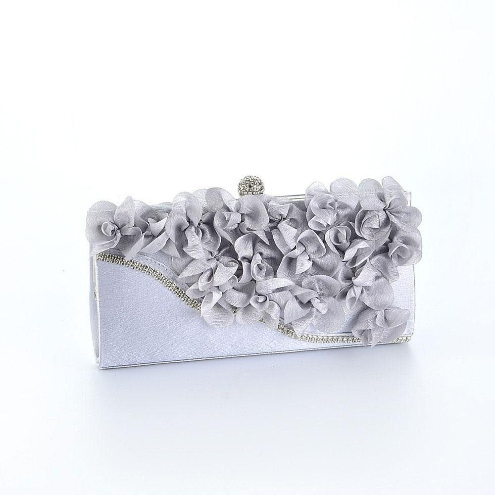Aolvo Evening Clutches Bags Flower Dinner Lady Clutch Bag Arc With Diamond Party Purse
