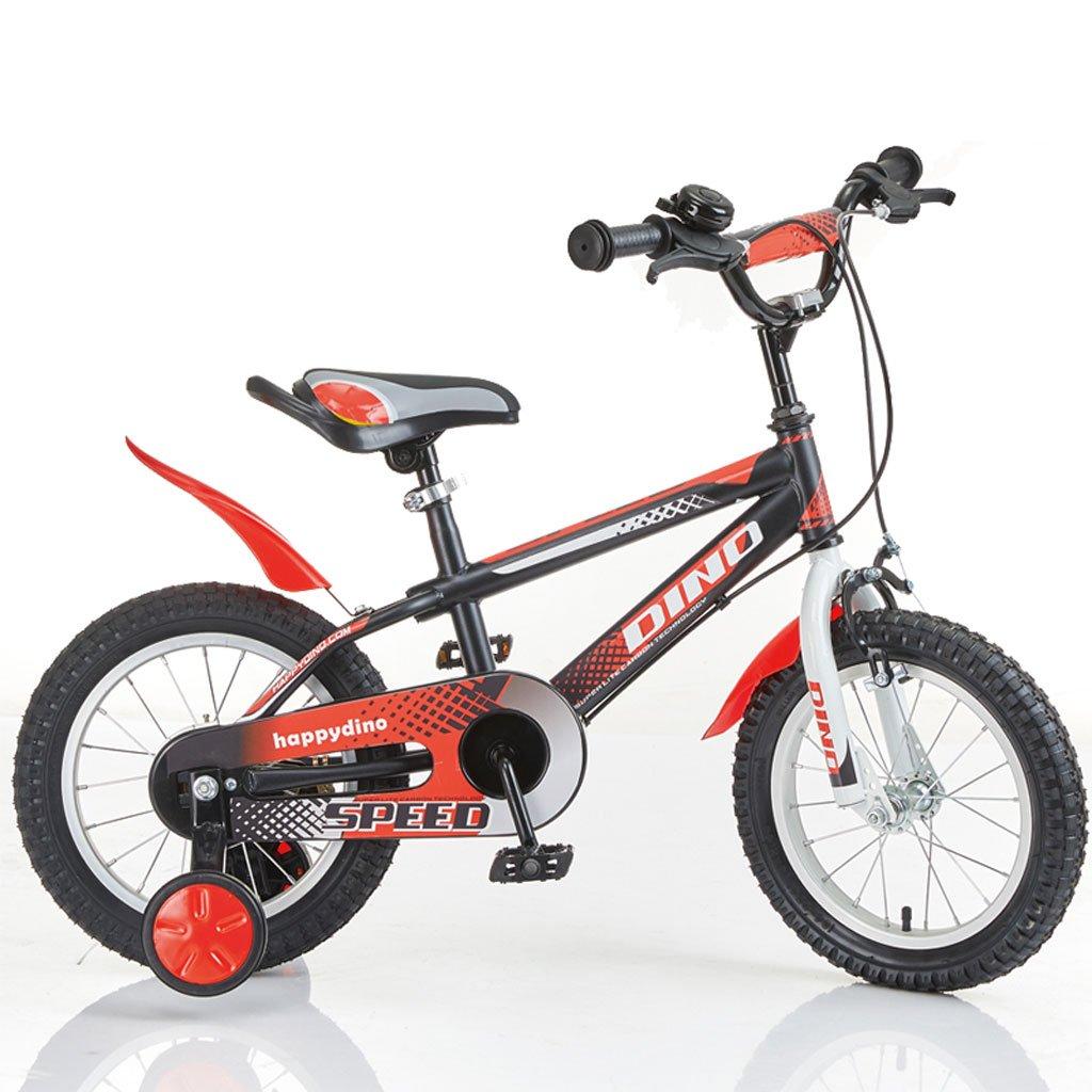 Fenfen子供の自転車3 – 6歳児ベビーバイク高炭素鋼自転車14インチ男の子ベビーCarriage、レッドブラック B07CV8WZW7