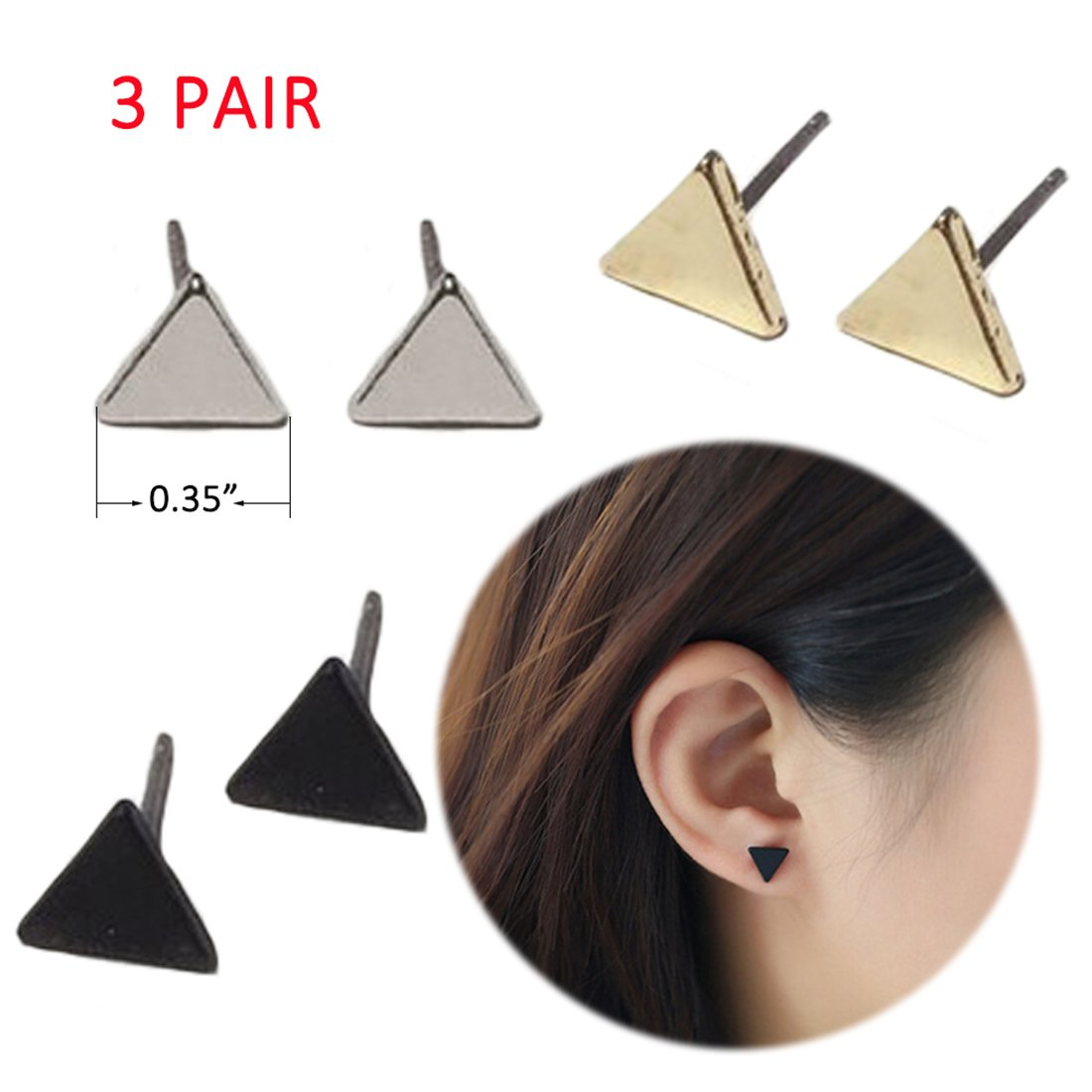 3 Pair Ear Crawler Earrings Climbers Studs Ear Cuff Pin Vine Wrap Women Bar Line Simple Clip On Jewelry Chic Moon