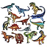 Coopay 14 Pieces Dinosaur Iron on Patches Embroidered Motif Applique Assorted Size Decoration Sew On Patches for DIY Jeans Jacket, Clothing, Handbag, Shoes, Caps