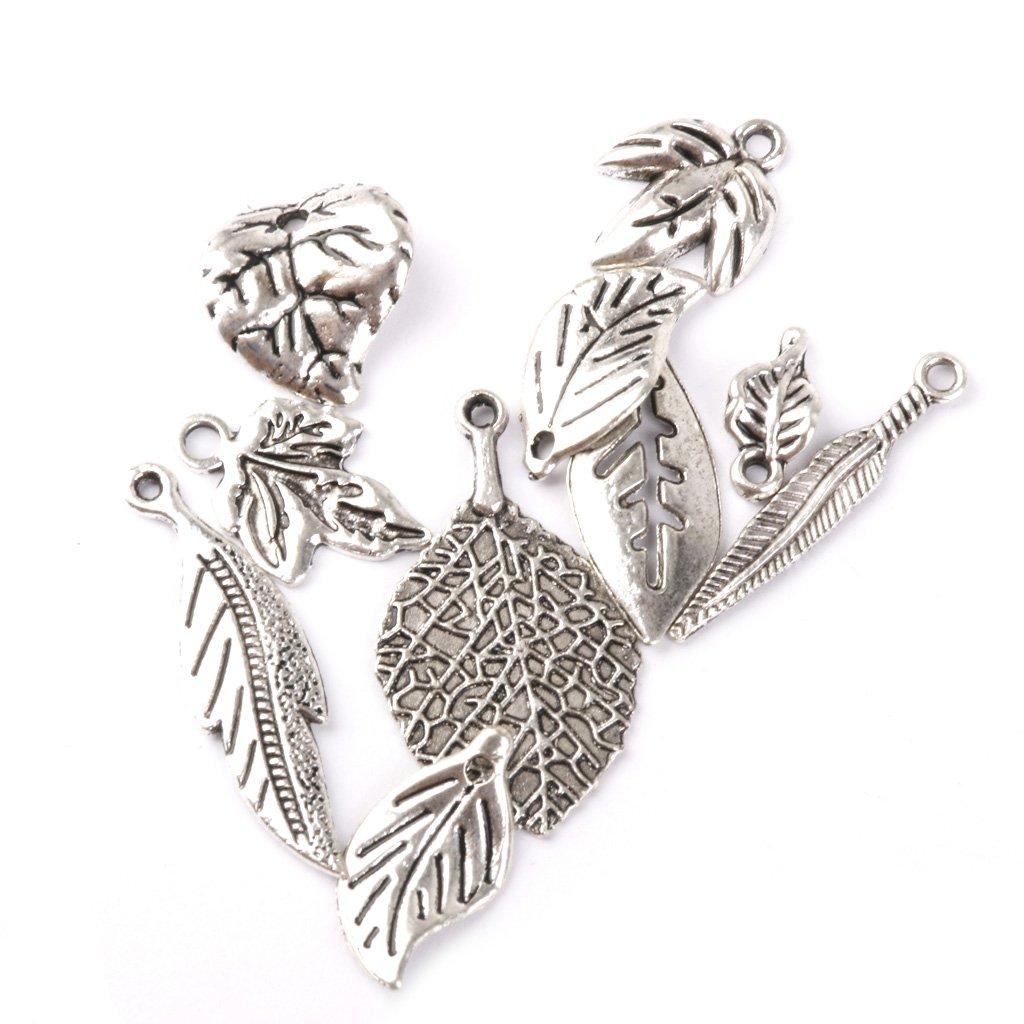 Sharplace 50pcs Plata Colgantes de Perlas Encantos Colgantes de Forma Hoja para Fabricaci/ón de Joyas Accesorios