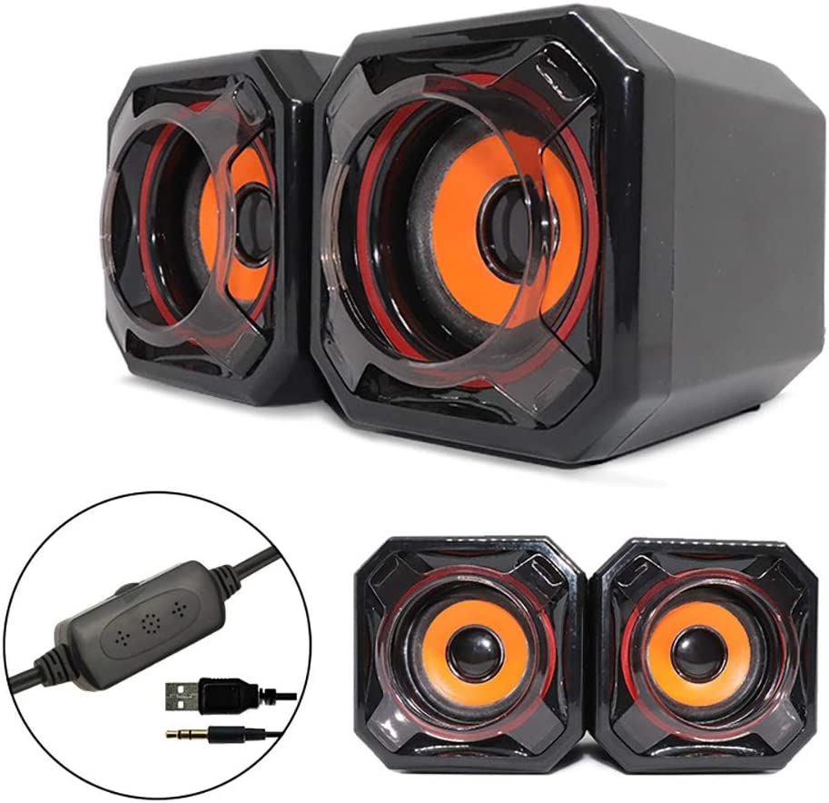 Mailin Computer Speakers, Laptop Speakers Small Cute Computer Speaker with Mega Bass Vibration Membrane USB Power Supply Compatible with PC,Mobile Phone,Tablet,TV,MP3