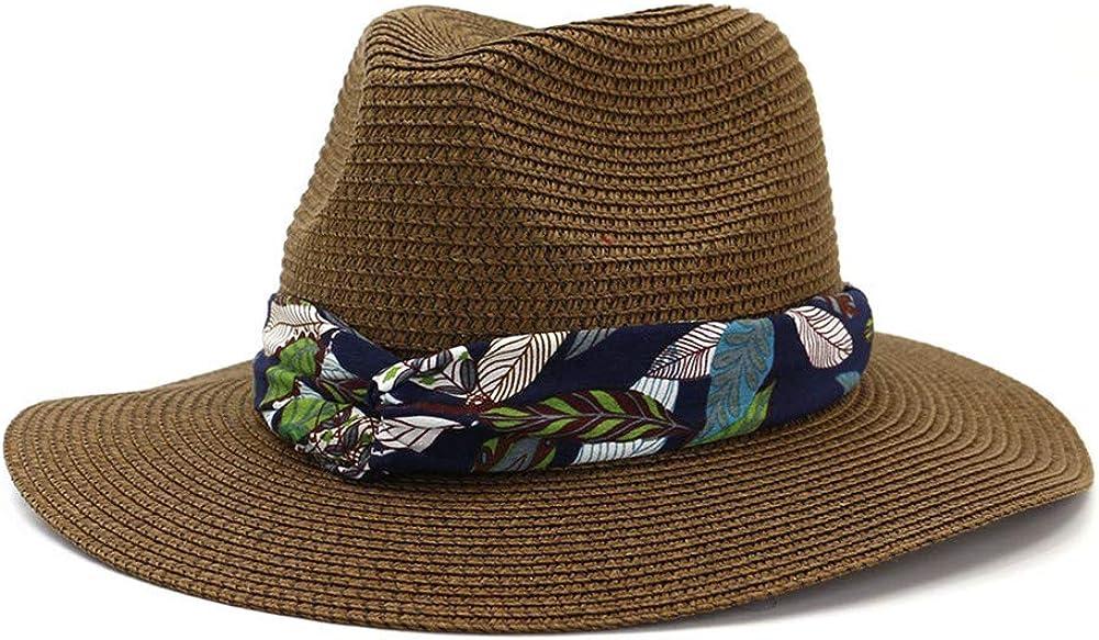Lisianthus Women Bohemia Straw Sunhat Summer Beach Wide Brim Fedora Travel Hat