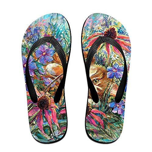 Cat with for Flip Women Flowers Cute Flops Kids Men PTJHKET Slippers IwRtU0