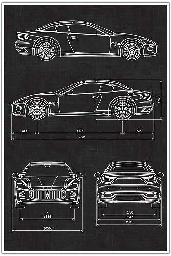 Amazon com: Maserati Car Blueprint Patent Print Poster: Handmade