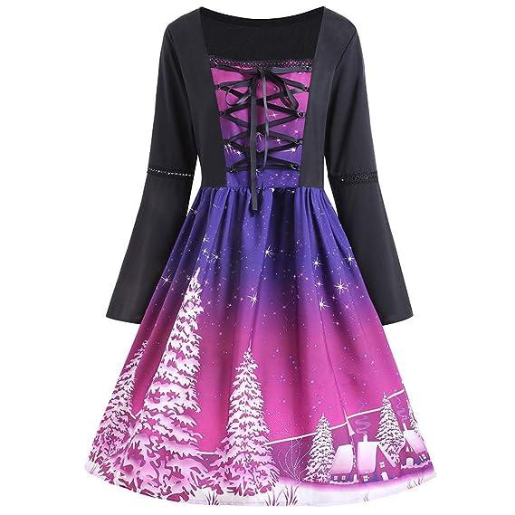 Gusspower Vestido de Manga Larga Mujer Tallas Grande, Moda Blusas Fades de Manga Larga Estampado Floral Navidad para Mujer Elegantes Falda de la Rodilla: ...