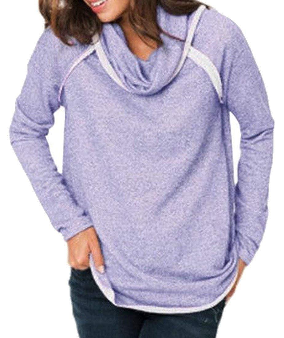 Somoll Damen Kontrast Cowl Neck Pullover Lässige Sweatshirts Top Größe : X-Groß)