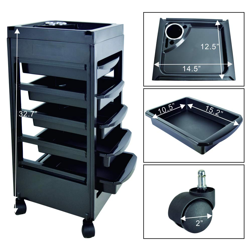 Salon SPA Beauty Hairdressing Rolling Trolley Cart with 5 Drawers Storage Cart: Beauty