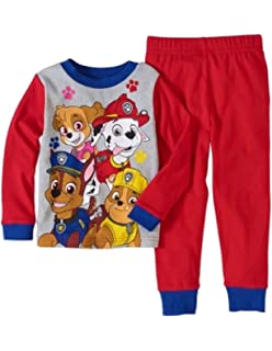 ed1480ae6a Amazon.com  Paw Patrol Little Boys  Gray and Red Stripped Pajama ...
