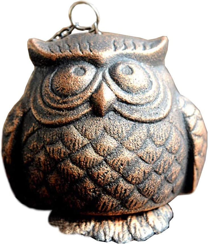 Mornenjoy Rustic Cast Iron Owl Wind Chime Hanging Decorative Japanese Wind Chimes for Home Garden Patio Yard Indoor Outdoor Decor Grandma Kid Gardener Gift (Copper)