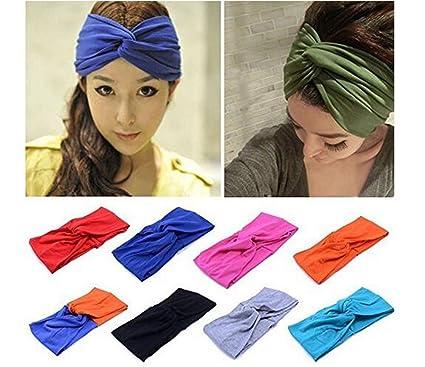 85685124c75f 2pcs Women Girls Turban Twist Headband Wide Cotton Elastic Hairband Yoga  Turban Twist Headband Head Wrap