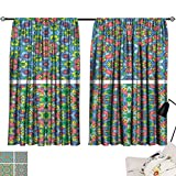 Hariiuet Thermal Insulated Blackout Curtains Set of Abstract Mosaic Colorful Seamless Wallpaper Texture backg12 72'x84',with Grid Composition Decorative Curtains for Living Room