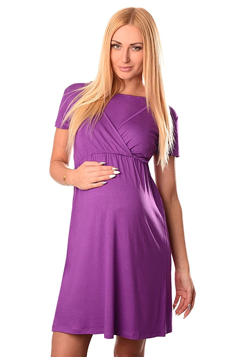Purpless Maternity 2in1 Pregnancy and Nursing Short Sleeved Round Neck Dress 7200