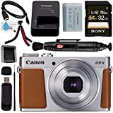 Canon PowerShot G9 X Mark II Digital Camera (Silver) 1718C001 + Sony 32GB SDHC Card + Deluxe Cleaning Kit + Memory Card Wallet + Card Reader + Micro HDMI Cable + Lens Pen Cleaner + Tripod Bundle