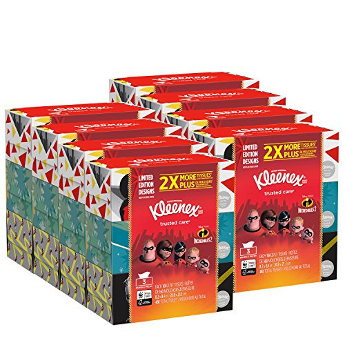 Kleenex Trusted Care Everyday Facial Tissues, Flat Box, 160 Tissues per Flat Box, 24 Packs