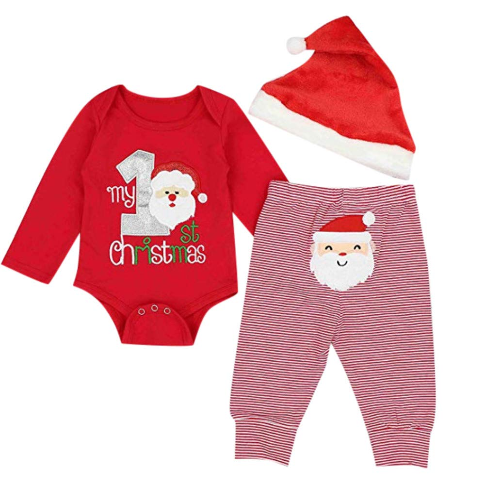 Infant Christmas 3Pcs Outfit Set, Baby Girls Boys Jumpsuit My First Christmas Santa Printed Rompers + Striped Pants + Xmas Hat Newborn Toddlers Clothes Sets