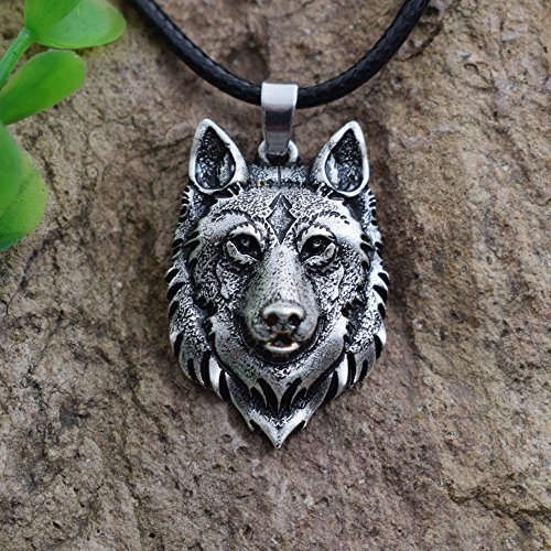 1pcs Wolf Head Necklace Pendant Animal Power Norse Viking Amulet Necklaces Pendants Men Women Gift Jewelry