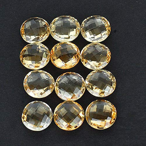VVS 62 Cts/12 Pcs ~ Round Checkerboard Cut Unheated Natural Citrines AAA Quality
