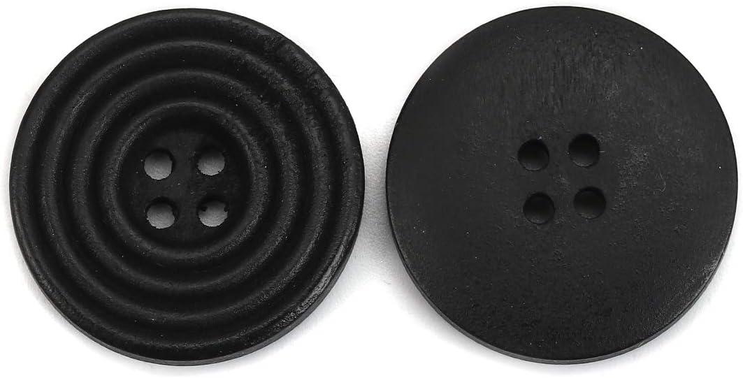 le bricolage et la d/écoration. SiAura Material noir 4 trous I pour la couture Lot de 30 boutons ronds en bois Scrapbooking Cercle 25 mm
