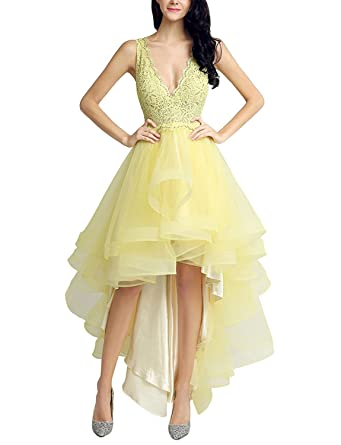 b34d96def3a1b Jicjichos Women's 2017 Tulle High Low Homecoming Dresses Lace Prom Gowns  Size 2 Yellow