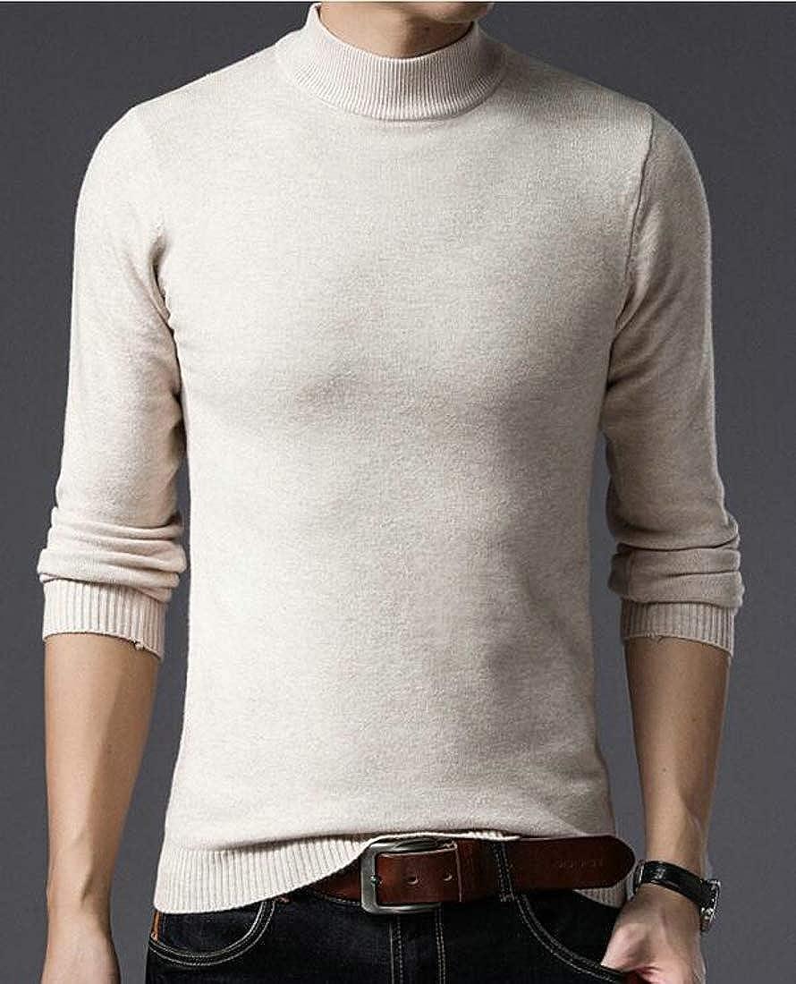 Hajotrawa Men Vogue Knit Solid Turtleneck Slim Pullover Sweater