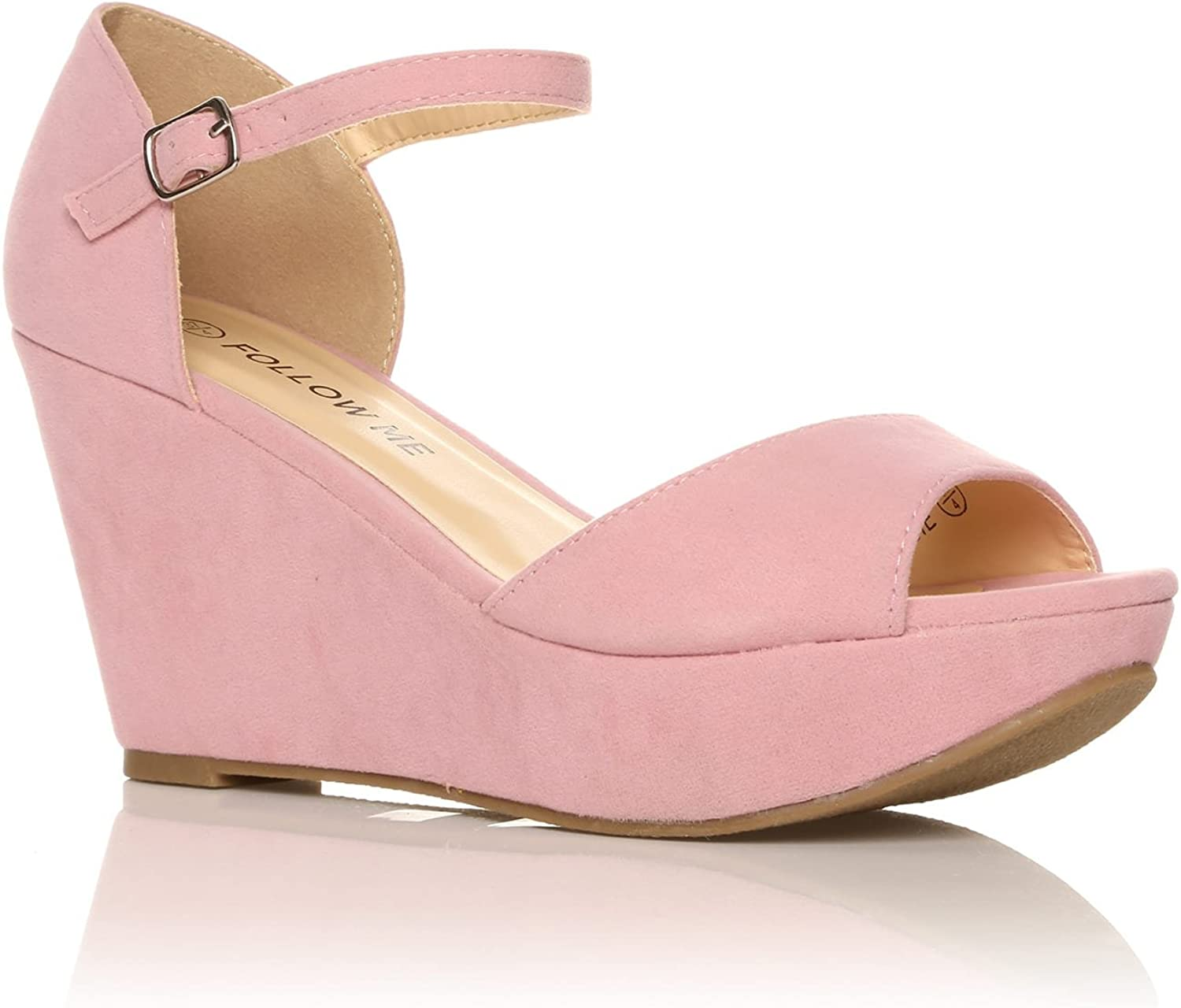 LACIE Baby Pink Faux Suede Wedge High
