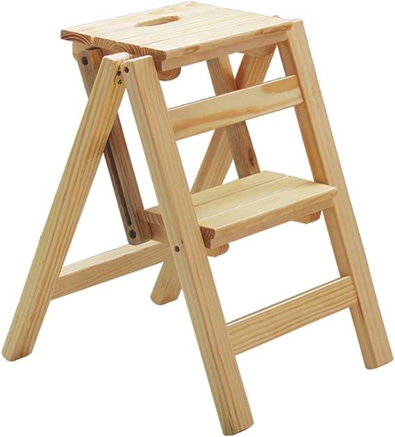 JU FU Escalera plegable multifuncional casera de madera - escaleras de madera plegables Taburete enteriza multifuncional de madera maciza tres/dos pasos, 4 colores @: Amazon.es: Bricolaje y herramientas