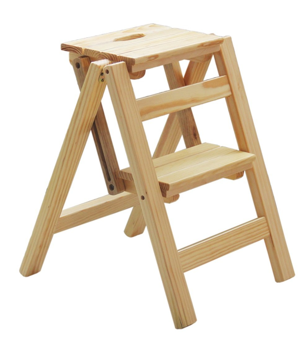 A 47cm RFJJAL Step Stool,Folding Wooden Ladder Stairs Multifunction Solid Wood Three Two Steps Natura Stool, 4 colors (color   B, Size   47cm)