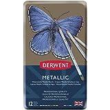 Derwent Metallic Water Soluble Pencils, 3.4mm Core, Metal Tin, Drawing, Art, 12-Pack (0700456)