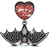 GNOCE Black Bat Charms for Bracelets Sterling Silver with Cubic Zirconi Skull Heart Dangle Charm Beads Fit Bracelet/Necklace