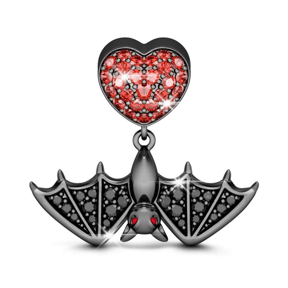 GNOCE Ciondolo Pipistrello Placcato Nero in Argento Sterling 925Pipistrello Volante Porta Amore Bead Charms per bracciali e Collana Halloween