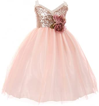 2bd3c49d Little Girls Dress Sequins Ruffle Trim Layered Tulle Pageant Party Flower  Girl Dress Blush Size 2