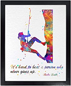 Dignovel Studios Unframed 8X10 It's Hard to Beat a Person Girl Rock Climbing Quotes Watercolor Art Print Inspirational Wall Art Wedding Housewarming Nursery Kids Office Home Decor DN551
