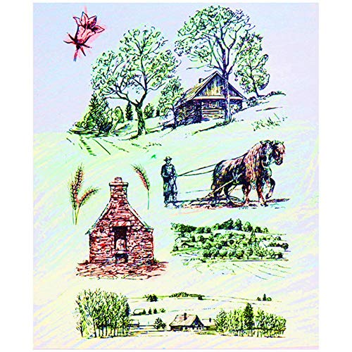 Scrapbooking Rubber Stamp Rubber Clear Stamps Farm House Clear Stamp Animal Tree Cattle Clear Rubber Stamps Silicone Transparent Stamp for Scrapbooking DIY Decor Tools