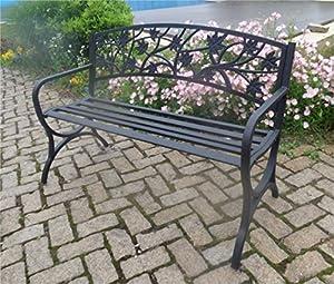 Sunjoy L-PB153PST Maple Leaf Steel Frame Patio Garden Park Bench - Black from Sunjoy