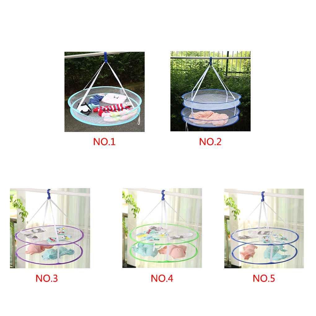 meisijia S Hook Drying Rack Pieghevoli Appendiabiti Lavanderia Cestino Asciugabiancheria Net 1 strato colore casuale