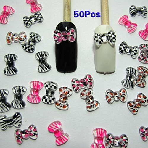 TOOGOO(R) Nail Art 3d 50 Mix PRINT BOW /RHINESTONE for Nails, (Nails Cell Phones)