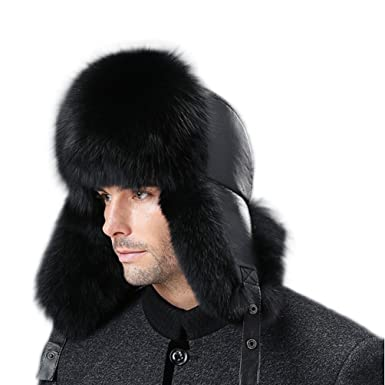 5ad964add8187 Winter Real Fox Fur Cap Genuine Leather Russia Men's Raccoon Fur Hat ...